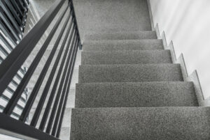 A photo of aluminum railings on residential stairs