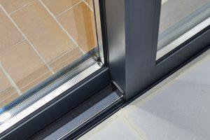 Sliding glass door detail and rail