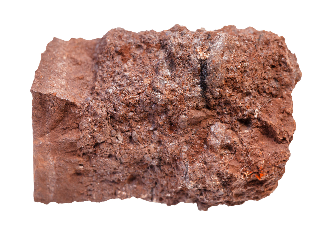 A piece of raw bauxite ore